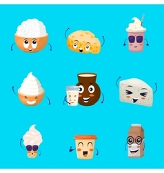 Dairy Products Cartoon Icons Set vector image