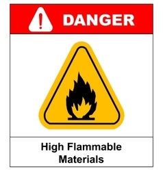 Fire warning sign in yellow triangle high vector