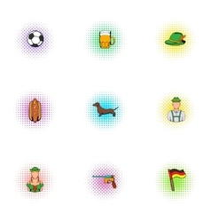 Alcohol icons set pop-art style vector image vector image