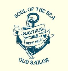 Anchor sailor tee design vector