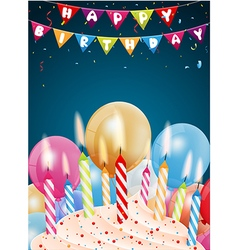 Birthday background with colorful candle and light vector