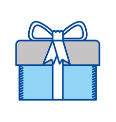 Blue contour of gift box with decorative ribbon vector