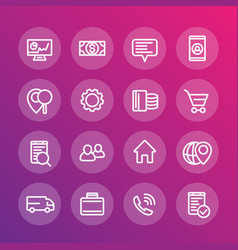business finance commerce trade line icons vector image vector image