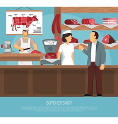 Butcher meat shop flat poster vector