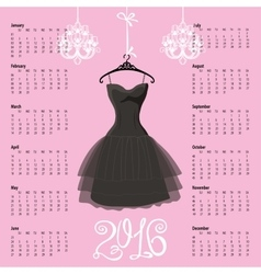 Calendar 2016 yearBlack dress Silhouette vector image