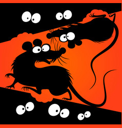 cartoon rats silhouettes vector image vector image
