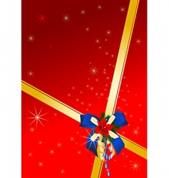 Christmas card with blue bow vector image