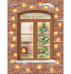 christmas interiot through window vector image