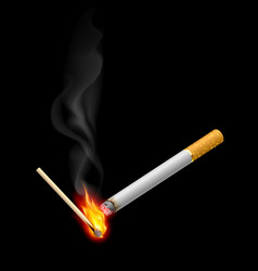 Cigarrette with burning match on black vector