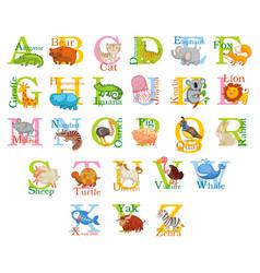 cute animal alphabet vector image