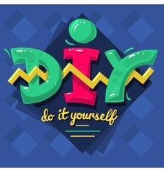 Diy acronym do it yourself 90 s vibrant colors vector