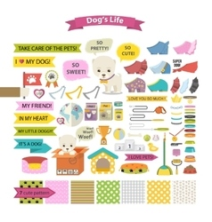 Dog stuff icons vector