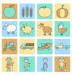 Farm icons set flat line vector image