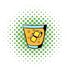 Glass of whiskey and ice icon comics style vector
