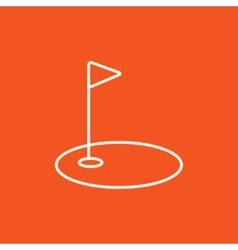 Golf hole with flag line icon vector image