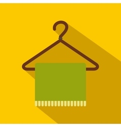 Green scarf on coat-hanger flat icon vector