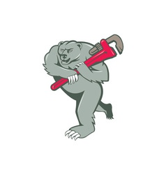 Grizzly bear plumber monkey wrench cartoon vector