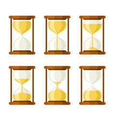 hourglass retro icons set vector image