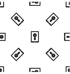 Idea lamp on gadget screen pattern seamless black vector