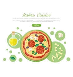Italian cuisine web banner pizza with tomatoes vector