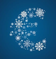 Letter font frosty snowflakes vector