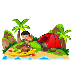 Little boy camping out on island vector