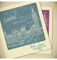 London doodles drawing landscape in vintage style vector image