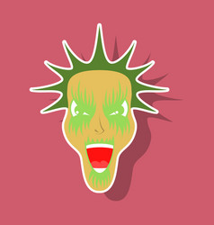 paper sticker on theme evil face vector image