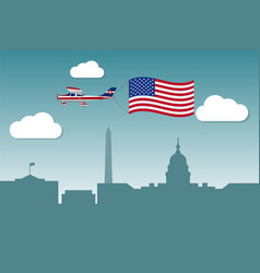 Plane with flag of united states of america vector