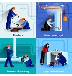 Plumber icons set vector image