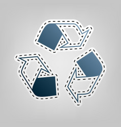Recycle logo concept blue icon with vector