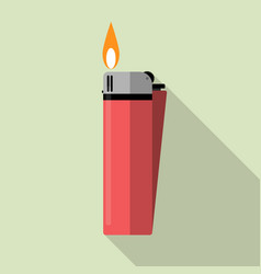 Red gas lighter with fire vector