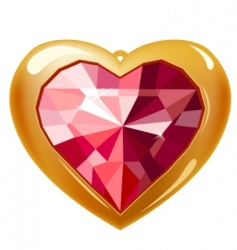 Ruby gold heart vector