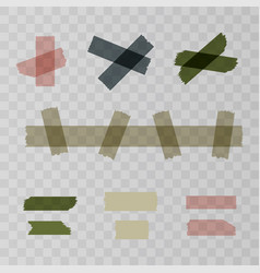 Scotch adhesive tape pieces isolated on vector