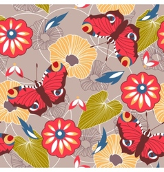 Seamless background with butterflies and flowers vector image