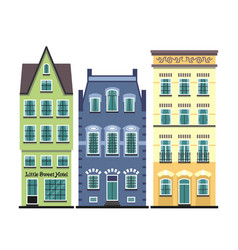 Set of 3 amsterdam old houses cartoon facades vector