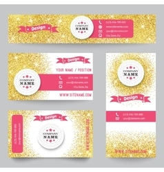 Set of identity templates with golden confetti vector image