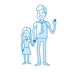 Silhouette father with his daughter together and vector