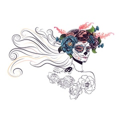 Sugar skull girl in flower crown11 vector