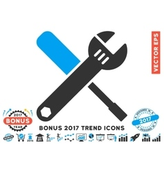 Tools flat icon with 2017 bonus trend vector