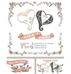 Vintage wedding invitation setStylized hearts vector image vector image