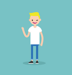 winking blond boy sticking out tongue emotional vector image