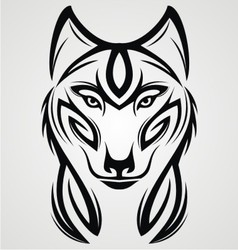 Wolf Tribal Tattoo Design vector image
