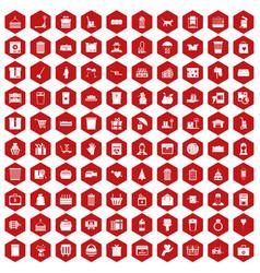 100 box icons hexagon red vector
