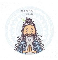 yogi character and kitten vector image