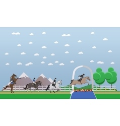Jokey professional horseback riding banner vector