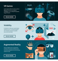 Virtual reality horizontal webpage banners set vector