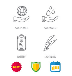 save planet water and battery icons vector image