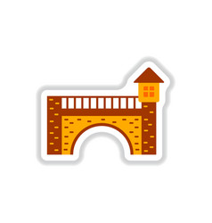 In paper sticker style brick vector