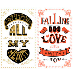 with all my heart falling in love with you vector image
